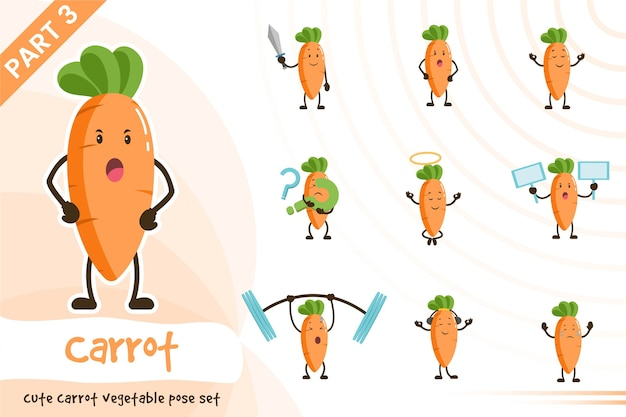 Illustration de dessin animé de vecteur de jeu de légumes carottes