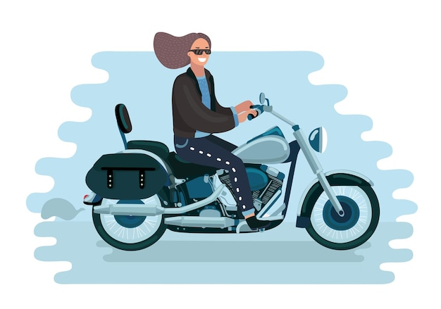 Illustration de dessin animé de vecteur de jolie femme fait du vélo. fille à lunettes de soleil sur moto.+