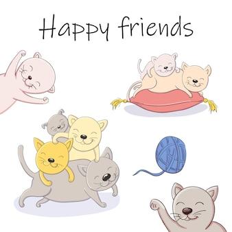 Illustration de dessin animé de vecteur de jouer à des amis heureux chatons