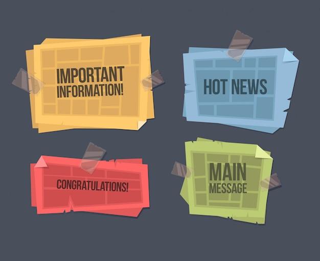 Illustration de dessin animé de vecteur d'un journal plié. modèle d'information important. illustration de dessin animé de vector plate