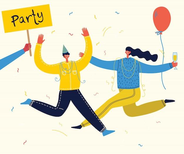 Illustration de dessin animé de vecteur de joyeux anniversaire célébrant la fête. le concept d'amitié, mode de vie sain, succès, fête, fête.