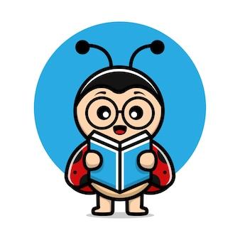 Illustration de dessin animé de vecteur de livre de lecture de coccinelle mignonne