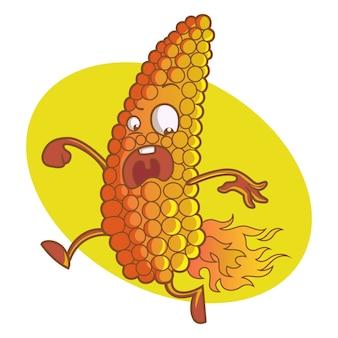 Illustration de dessin animé de vecteur de maïs mignon.
