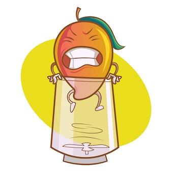 Illustration de dessin animé de vecteur de mangue mignonne avec verre.