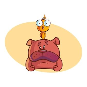 Illustration de dessin animé de vecteur de nounours mignon avec oiseau.