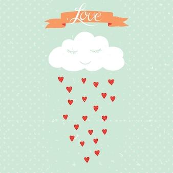Illustration de dessin animé de vecteur avec nuage et pluie de coeurs. peut être utilisé pour les fonds d'écran, les arrière-plans de pages web, la saint-valentin ou une carte romantique, une invitation de mariage