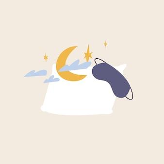 Illustration de dessin animé de vecteur avec oreiller blanc, masque de sommeil, lune et étoiles. concept de rêve doux et sain.