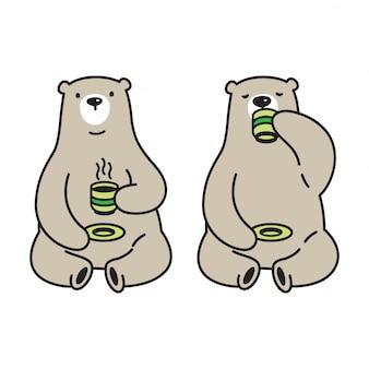 Illustration de dessin animé de vecteur ours ours polaire thé café
