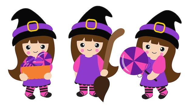 Illustration de dessin animé de vecteur de petite fille de sorcière à halloween
