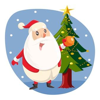 Illustration de dessin animé de vecteur de santa mignon debout avec arbre.