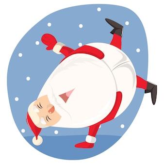 Illustration de dessin animé de vecteur de santa mignonne danse.