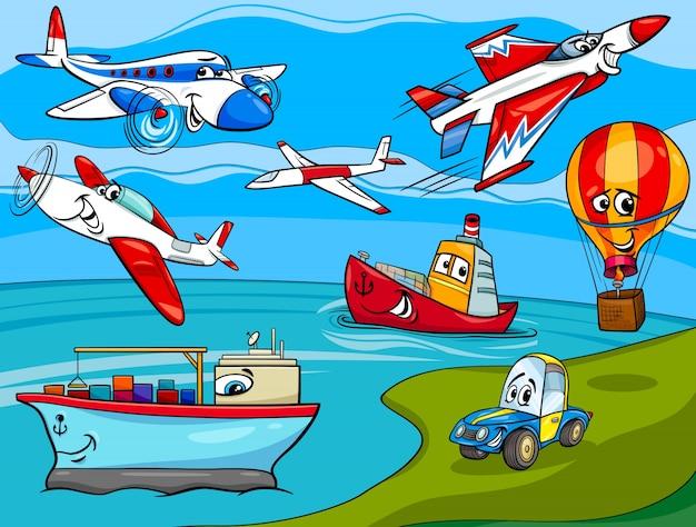 Illustration de dessin animé de véhicules de transport