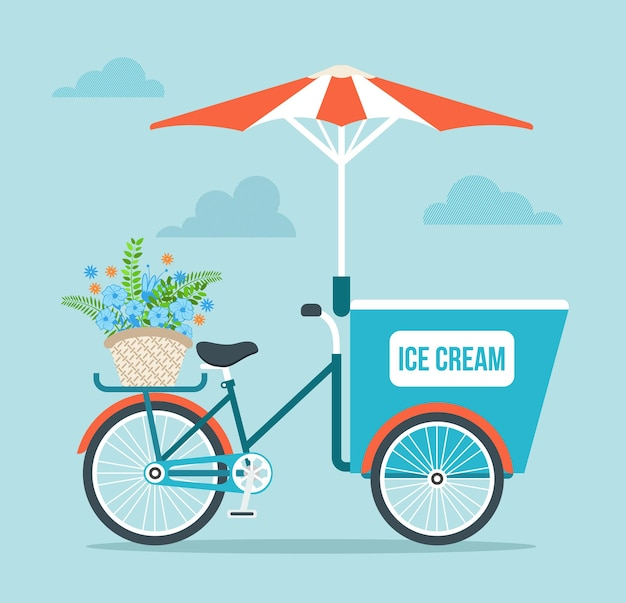 Illustration de dessin animé de vélo de crème glacée