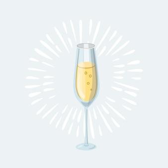 Illustration de dessin animé de verre de champagne