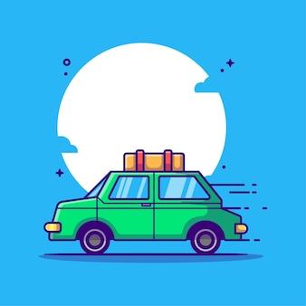 Illustration de dessin animé de voyage en voiture. concept d'icône de camping blanc isolé. style de bande dessinée plat