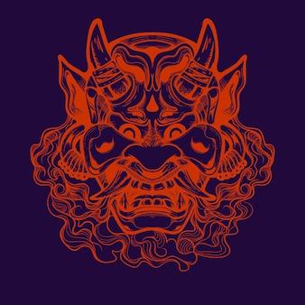 Illustration de dessin au trait masque oni