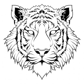 Illustration de dessin au trait tête de tigre