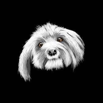 Illustration de dessin de main de chien mignon
