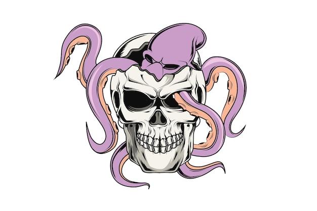 Illustration de dessin à la main de crâne et de poulpe