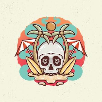 Illustration dessin à la main avec dessin au trait rugueux, concept de l'ambiance estivale avec tête de squelette sur la plage, planche de surf, cocotier