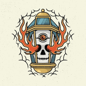 Illustration dessin à la main avec dessin au trait rugueux, concept de lampe avec squelette de tête et feu brûler