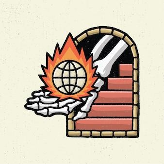 Illustration dessin à la main avec dessin au trait rugueux, concept de main squelette avec brûleur le nouvel ordre mondial
