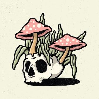 Illustration dessin à la main avec dessin au trait rugueux, concept de pot de tête de crâne avec plante champignon