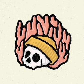 Illustration dessin à la main avec dessin au trait rugueux, concept de tête de crâne avec bonnet et brûler sur le feu