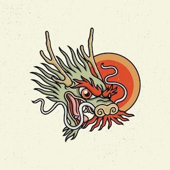 Illustration dessin à la main avec dessin au trait rugueux, concept de la tête du dragon japonais