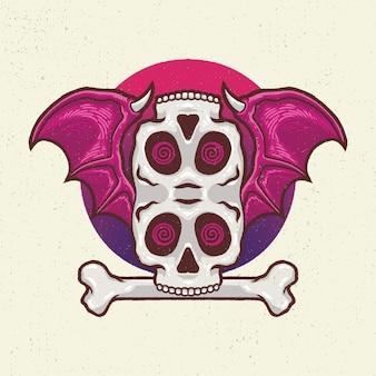 Illustration dessin à la main avec dessin au trait rugueux, concept de tête de squelette avec les ailes de chauve-souris