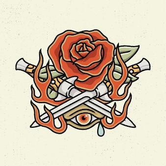 Illustration dessin à la main avec un dessin au trait rugueux, le concept de tous ne sont pas beaux. rose et couteau dessin à la main avec un seul œil