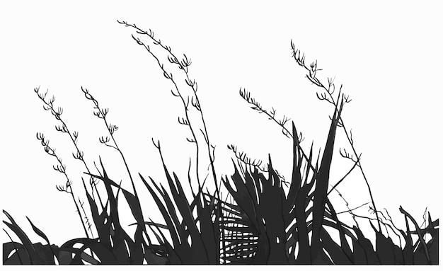 Illustration de dessin à la main d'encre de plantes noires et d'herbe