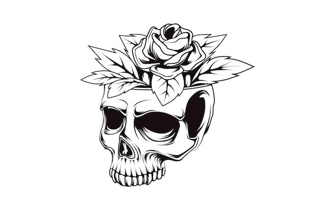 Illustration de dessin à la main de fleurs de crâne