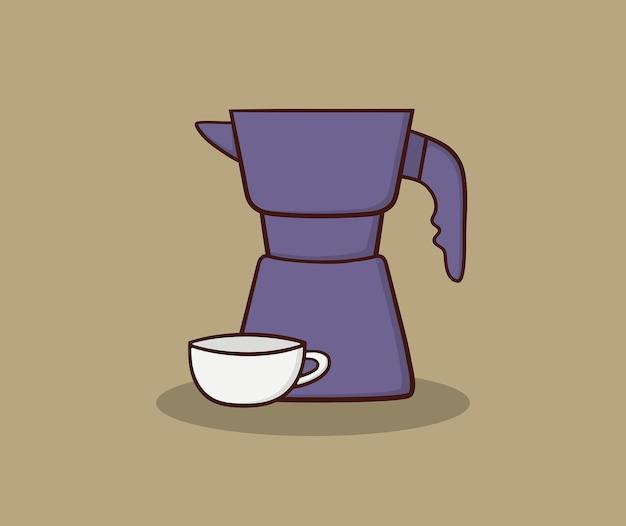 Illustration de dessin de main de pot et de tasse de moka