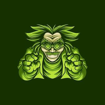 Illustration dessin mascotte logo vert sceintist vecteur