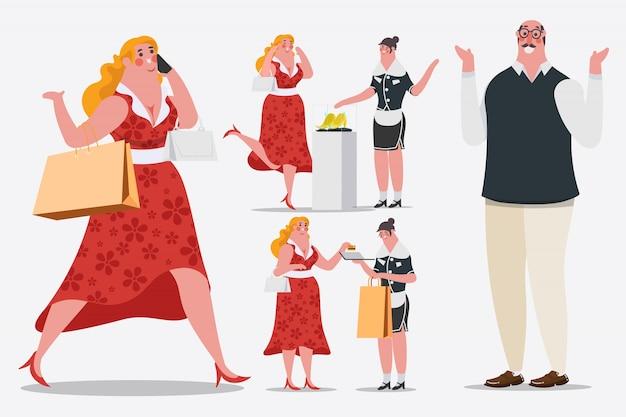 Illustration de dessin de personnage de dessin animé. les femmes marchent et appellent des téléphones portables les sacs à provisions sont entrés dans le magasin. elle utilise une carte de crédit.