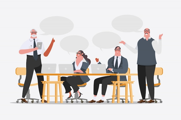 Illustration de dessin de personnage de dessin animé. idées d'échange de conférence de l'équipe commerciale