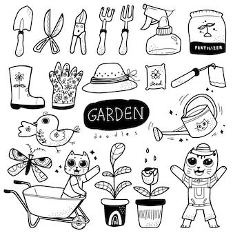 Illustration dessiné à la main doodle de jardinage de style scandinave
