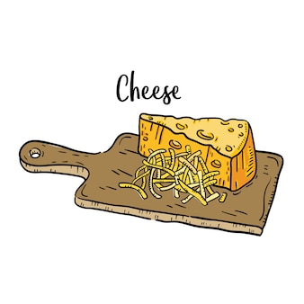 Illustration dessinée de fromage à la main.
