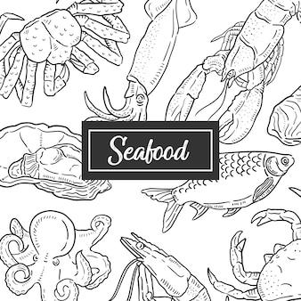 Illustration dessinée de fruits de mer à la main.