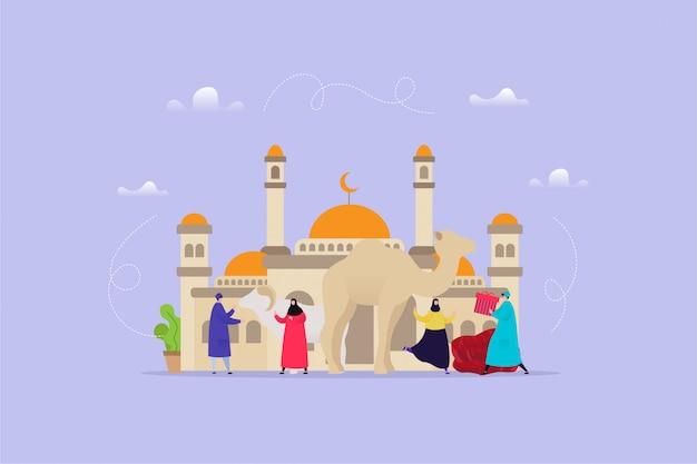 Illustration dessinée à la main de l'aïd al adha