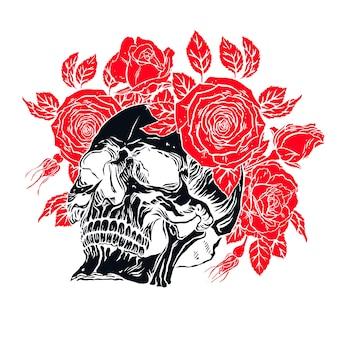 Illustration dessinée à la main de l'anatomie du crâne humain avec une mâchoire inférieure et une couronne de roses