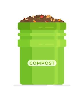 Illustration dessinée à la main d'un bac à compost plein