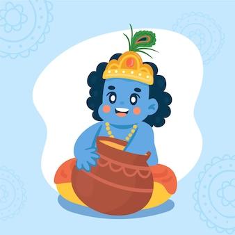 Illustration dessinée à la main de bébé krishna mangeant du beurre