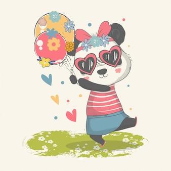 Illustration dessinée à la main d'un bébé panda mignon avec des ballons.