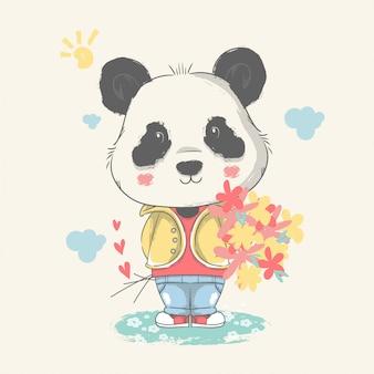 Illustration dessinée à la main d'un bébé panda mignon avec des fleurs.