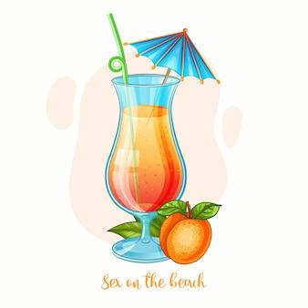 Illustration dessinée à la main de boire de l'alcool sexe sur le verre à cocktail plage