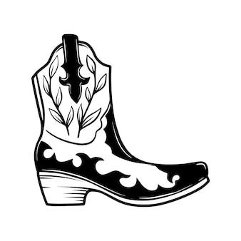Illustration dessinée à la main de botte de cowboy isolée sur fond blanc. élément de design pour affiche, carte, bannière, t-shirt, emblème, signe. illustration vectorielle