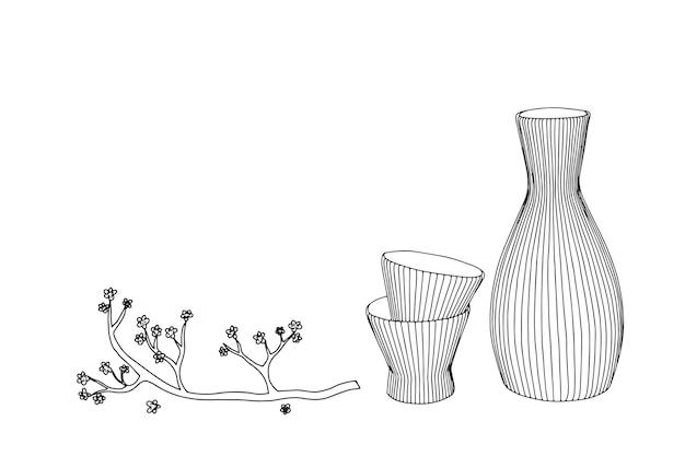 Illustration dessinée à la main de la bouteille de saké à l'encre style dessiné à la main.