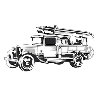 Illustration dessinée à la main de camion de pompiers vintage isolé.